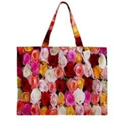 Rose Color Beautiful Flowers Zipper Mini Tote Bag