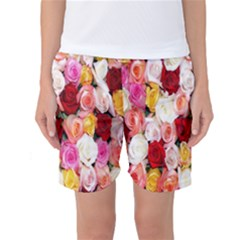Rose Color Beautiful Flowers Women s Basketball Shorts