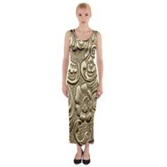 Golden European Pattern Fitted Maxi Dress