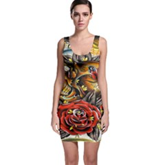 Flower Art Traditional Sleeveless Bodycon Dress