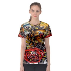 Flower Art Traditional Women s Sport Mesh Tee