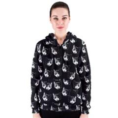 Cat Pattern Women s Zipper Hoodie
