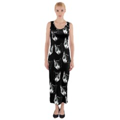 Cat pattern Fitted Maxi Dress