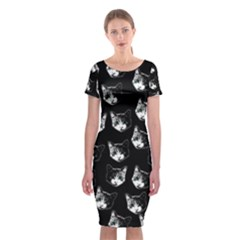 Cat pattern Classic Short Sleeve Midi Dress