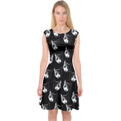 Cat Pattern Capsleeve Midi Dress