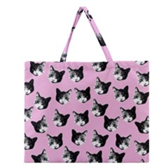 Cat pattern Zipper Large Tote Bag