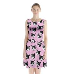 Cat pattern Sleeveless Chiffon Waist Tie Dress
