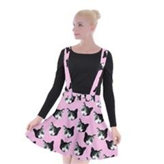 Cat Pattern Suspender Skater Skirt