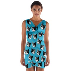 Cat pattern Wrap Front Bodycon Dress