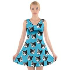 Cat pattern V-Neck Sleeveless Skater Dress