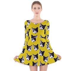 Cat pattern Long Sleeve Velvet Skater Dress