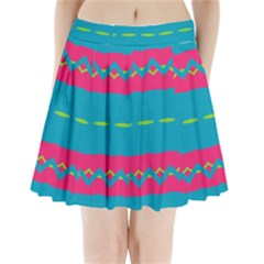 Blue green chains    Pleated Skirt