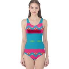 Blue green chains        Women s One Piece Swimsuit
