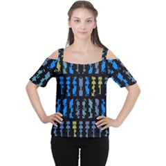 Blue shapes on a black background        Women s Cutout Shoulder Tee