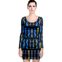 Blue shapes on a black background        Long Sleeve Bodycon Dress
