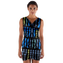 Blue shapes on a black background           Wrap Front Bodycon Dress