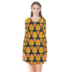 Yellow pink shapes pattern        Long Sleeve V-neck Flare Dress