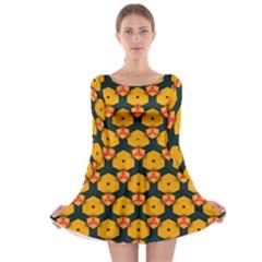 Yellow pink shapes pattern         Long Sleeve Skater Dress