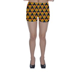 Yellow pink shapes pattern         Skinny Shorts