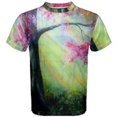 Forests Stunning Glimmer Paintings Sunlight Blooms Plants Love Seasons Traditional Art Flowers Men s Cotton Tee