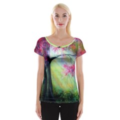 Forests Stunning Glimmer Paintings Sunlight Blooms Plants Love Seasons Traditional Art Flowers Women s Cap Sleeve Top