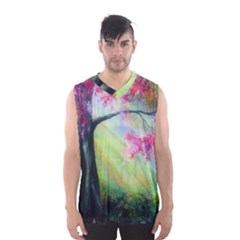 Forests Stunning Glimmer Paintings Sunlight Blooms Plants Love Seasons Traditional Art Flowers Men s Basketball Tank Top