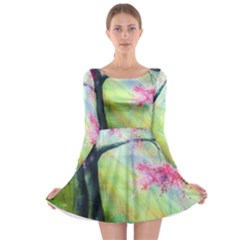 Forests Stunning Glimmer Paintings Sunlight Blooms Plants Love Seasons Traditional Art Flowers Long Sleeve Skater Dress