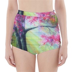 Forests Stunning Glimmer Paintings Sunlight Blooms Plants Love Seasons Traditional Art Flowers High-Waisted Bikini Bottoms