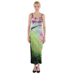 Forests Stunning Glimmer Paintings Sunlight Blooms Plants Love Seasons Traditional Art Flowers Fitted Maxi Dress