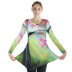 Forests Stunning Glimmer Paintings Sunlight Blooms Plants Love Seasons Traditional Art Flowers Long Sleeve Tunic