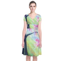 Forests Stunning Glimmer Paintings Sunlight Blooms Plants Love Seasons Traditional Art Flowers Short Sleeve Front Wrap Dress