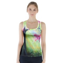 Forests Stunning Glimmer Paintings Sunlight Blooms Plants Love Seasons Traditional Art Flowers Racer Back Sports Top