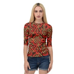 Red And Brown Pattern Quarter Sleeve Tee