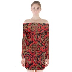 Red And Brown Pattern Long Sleeve Off Shoulder Dress