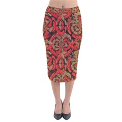 Red And Brown Pattern Velvet Midi Pencil Skirt