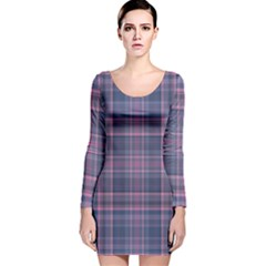 Plaid design Long Sleeve Velvet Bodycon Dress