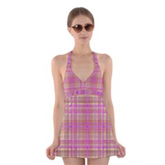 Plaid design Halter Swimsuit Dress