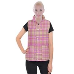 Plaid Design Women s Button Up Puffer Vest