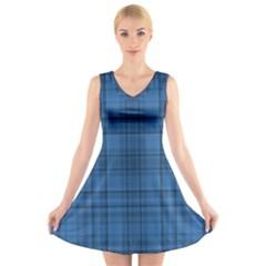 Plaid design V-Neck Sleeveless Skater Dress