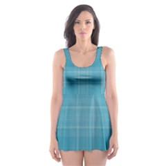 Plaid design Skater Dress Swimsuit