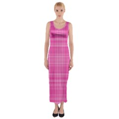 Plaid design Fitted Maxi Dress