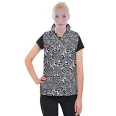Metallic Mesh Pattern Women s Button Up Puffer Vest