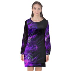 Fire Long Sleeve Chiffon Shift Dress