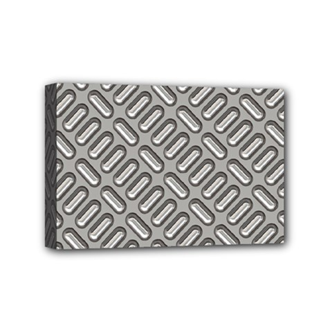 Grey Diamond Metal Texture Mini Canvas 6  x 4