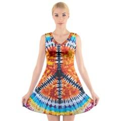 Tie Dye Peace Sign V-Neck Sleeveless Skater Dress