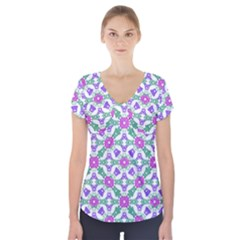 Multicolor Ornate Check Short Sleeve Front Detail Top