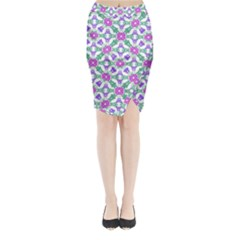 Multicolor Ornate Check Midi Wrap Pencil Skirt