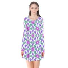 Multicolor Ornate Check Flare Dress