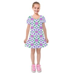 Multicolor Ornate Check Kids  Short Sleeve Velvet Dress