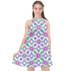 Multicolor Ornate Check Halter Neckline Chiffon Dress